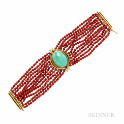Gold, Turquoise, and Coral Bracelet