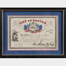 Framed City of Boston Civil War Era Military Donation Certificate