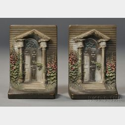 """Two Cast Iron """"Federal Doorway"""" Polychrome-painted Bookends or Doorstops"""