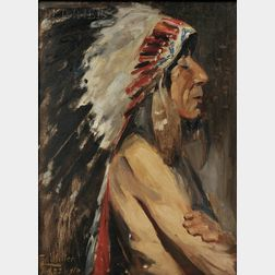 Christian J. Walter (American, 1872-1938)      Profile of a Native American in a Feather Headdress