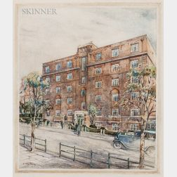 C. Terry Pledge (British, 19th/20th Century)      Rendering of a London Residential Building.