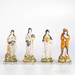 Set of Four Pratt-type Pearlware Figures of the Seasons