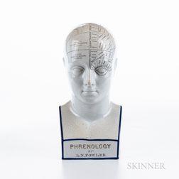 Reproduction L.N. Fowler Ceramic Phrenology Head