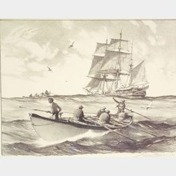 Gordon Grant (American, 1875 - 1962)    Whaleboats and Mother Ship.