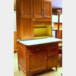 Napnee Oak Two-part Hoosier Cabinet with Porcelain Counter