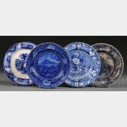 Four Blue Transfer-decorated Staffordshire Pottery Dinner Plates