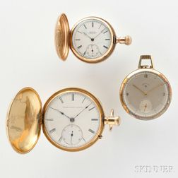 Three Gold American Pocket Watches