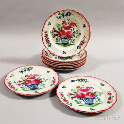 Set of Nine Faience Hand-painted Plates