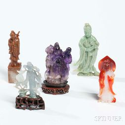Five Hardstone and Jade Carvings of Figures
