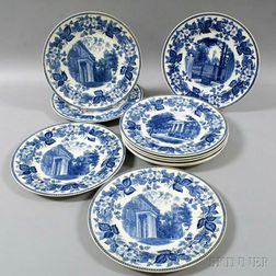 Set of Ten Wedgwood Blue Transfer-decorated Tufts University Dinner Plates