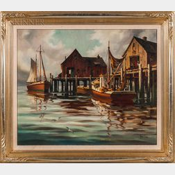 John Cuthbert Hare (American, 1908-1978)    Harbor Details, Gloucester
