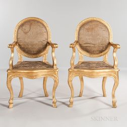 Pair of Louis XV-style Giltwood Open Armchairs