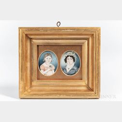 American School, Early 19th Century      Two Portrait Miniatures: A Daughter and Mother