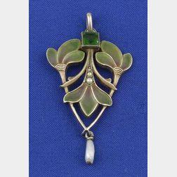 Art Nouveau Enamel and Gem-set Pendant