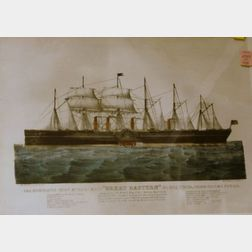 Framed Currier & Ives Lithograph of the Steamship Great Eastern