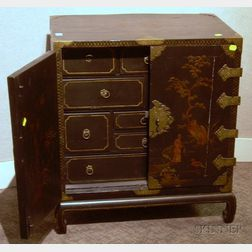 Diminutive Brass-mounted Gilt and Enamel Chinoiserie Decorated Black Lacquered Two-Door Collectors Cabinet wit...