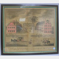 Framed Hand-colored Engraving A Prospect of the Colledges in Cambridge in New   England
