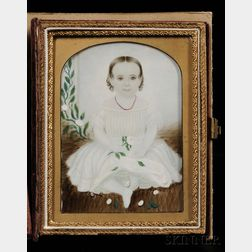 Attributed to Clarissa Peters Russell (Mrs. Moses B. Russell) (American, 1809-1854) Portrait Miniature of a Child in a White Dress Wear