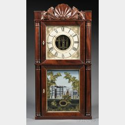 Silas B. Terry Carved-crest Mahogany Shelf Clock