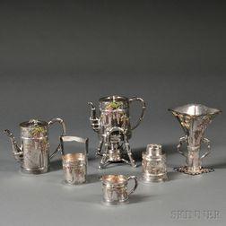 Six-piece Japanese Enameled Silver Tea Service