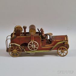 Vintage Dayton Pressed Steel Friction-driven Fire Truck Toy
