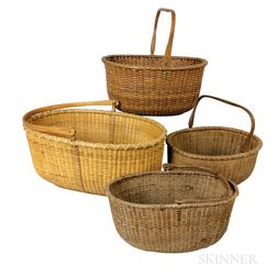 Four Nantucket Swing-handled Oval Baskets