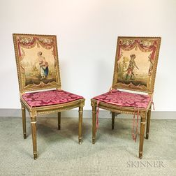 Pair of Louis XVI-style Gilt-gesso and Tapestry-upholstered Side Chairs.     Estimate $200-400