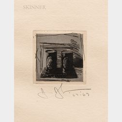 Jasper Johns (American, b. 1930)      Untitled (Ale Cans)