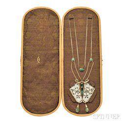 Arts & Crafts Gold, Enamel, and Gem-set Pendant Necklace, Frank Gardner Hale