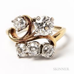 14kt Gold and Five-diamond Cluster Ring