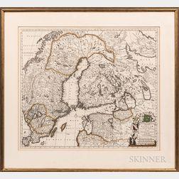Map Regni Sueciae Tabula generalis, divisa in Sueciae, Gotiae Regna Finniae Ducatum Lapponiam, Livoniam Ingriam.