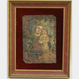 Cuzco School Oil on Tin Portrait of the Madonna and Christ Child