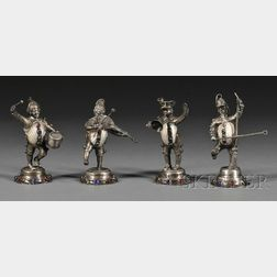 Four .800 Silver, Mother-of-pearl, and Glass Musician Figures