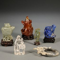 Six Carved Hardstone Items