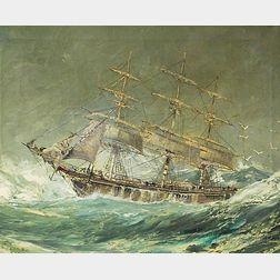 Robert J. Lie (American, 1899-1980)      Ship on Rough Seas