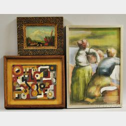 Three Framed American School Works:      Mountain Landscape in Early Autumn