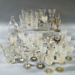 Group of Pressed and Cut Colorless Glass Stemware and Tableware Items.     Estimate $200-250