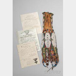 Lakota Beaded Hide Pipe Bag and Documents