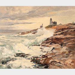 Gene Klebe (American, 1907-2009)      Crashing Surf, Pemaquid Point
