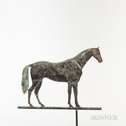 "Rare Molded Sheet Copper and Cast Iron ""Lexington"" Standing Horse Weathervane"
