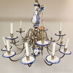 Modern Delft Ceramic Fifteen-light Chandelier