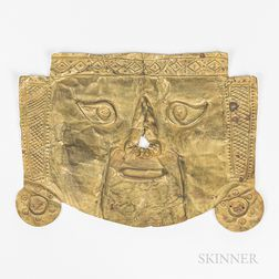 Pre-Columbian Copper Funerary Mask
