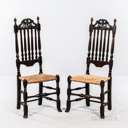Pair of Carved Bannister-back Side Chairs