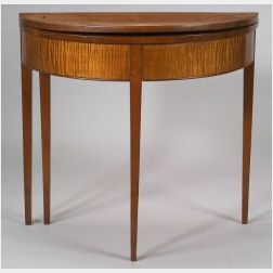 Federal Cherry and Tiger Maple Demi-lune Card Table