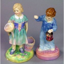 """Royal Doulton Porcelain Figures """"My Pretty Maid"""" and """"Wee Willie Winkie,"""""""