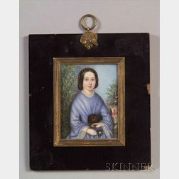 Portrait Miniature of a Girl in Blue Dress With Her Dog