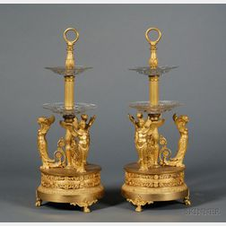 Fine Pair of Empire Gilt-bronze and Colorless Cut Glass Two-tiered Servers