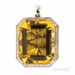Large 14kt White Gold, Citrine, and Diamond Pendant
