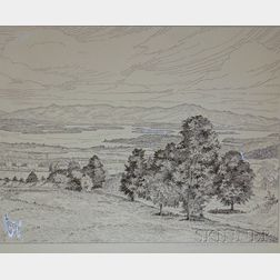 Three Unframed Ink on Board Views of the White Mountains Attributed to      Philip Cheney (American, 1897-1992)