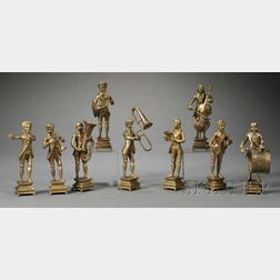 Nine Gilt-metal Musician Figures